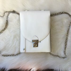 Vintage Backpack Bag white with chain Straps